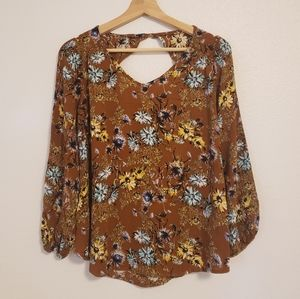 Papermoon | Brown Floral Flowy Top